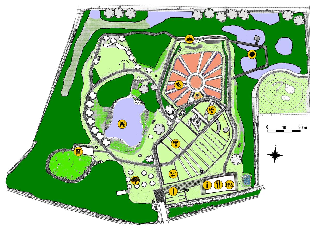 Getekende plattegrond van de natuurtuin